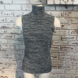 Gap Turtleneck Sleeveless Marled XS Black White